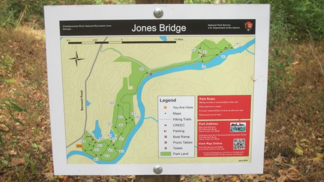 "Map of the Jones Bridge Unit of the Chattahoochee River National Recreation Area.  Located over 5 miles from any of the interstates, it is one of Atlanta's parks which is ""off the beaten path"""